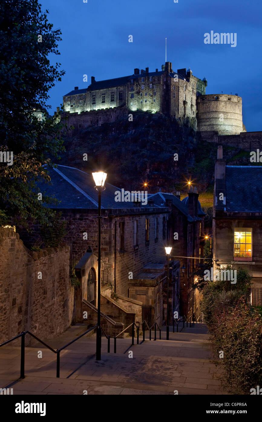 Edinburgh castle at night viewed from Heriot place, Edinburgh, Scotland. - Stock Image