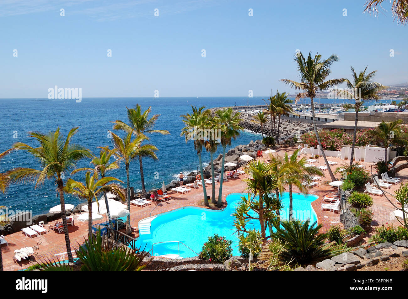 View On The Beach Palms And Swimming Pool Of Luxury Hotel Tenerife
