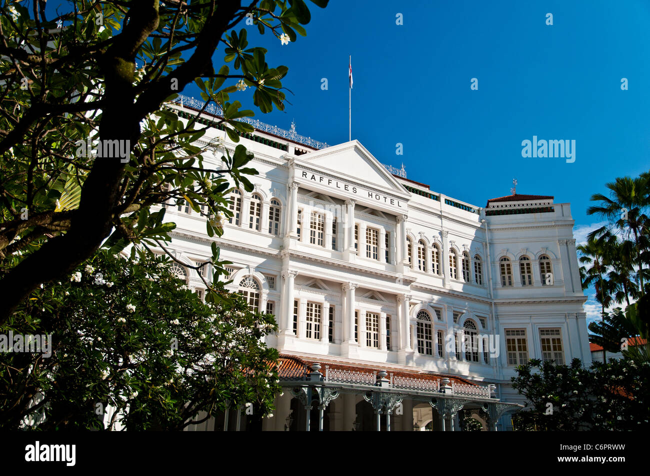 View of Raffles Hotel, a luxury colonial-style hotel, Singapore - Stock Image