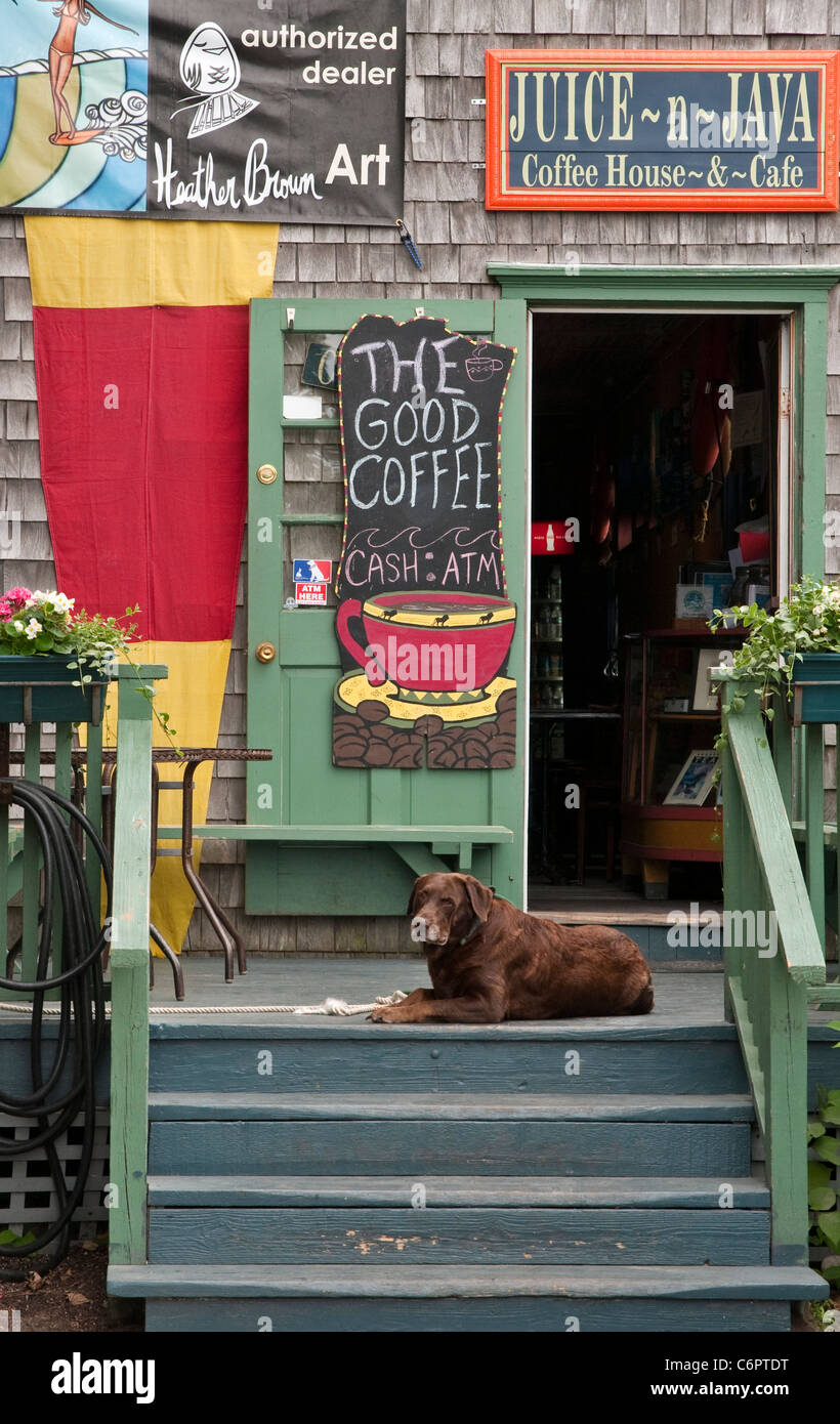 Cafe in Block Island, Rhode Island - Stock Image
