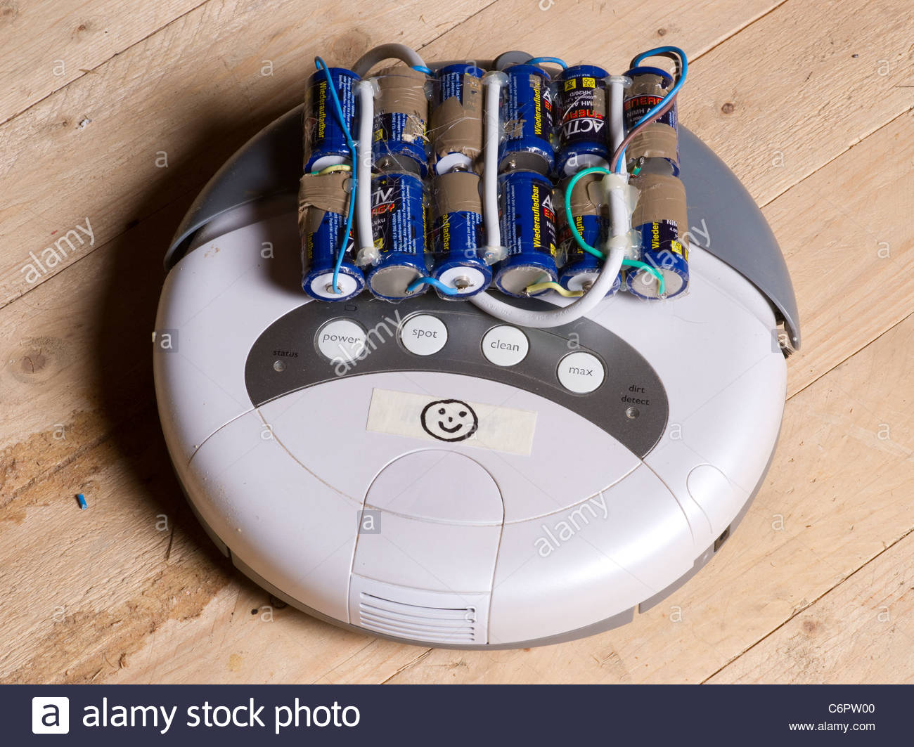Robot vacuum cleaner powered by homemade battery for ...