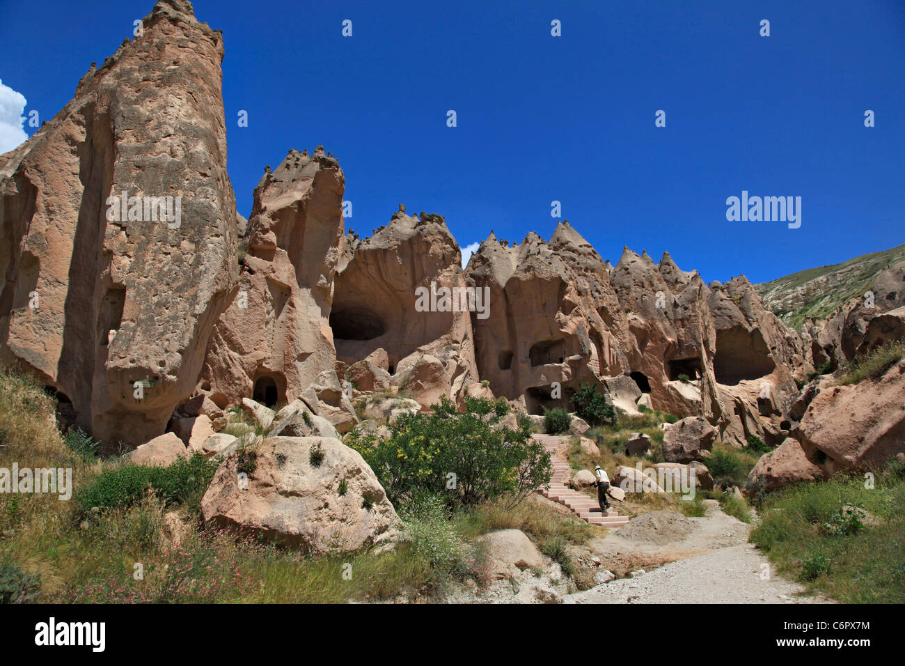 Zelve Open-Air Museum, with accommodation places, churches, mill and devecotes. Zelve, Goreme, Turkey - Stock Image