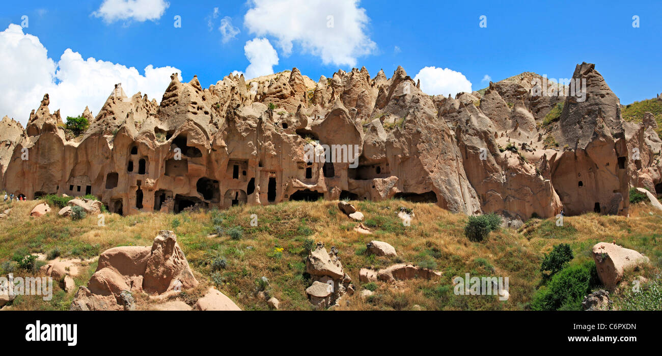 Wide panoramic in the Zelve Open-Air Museum, with accommodation places, churches, mill and devecotes. Zelve, Goreme, - Stock Image