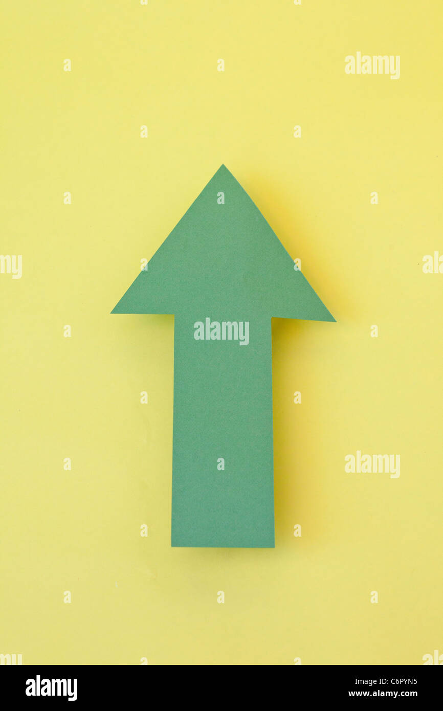 Green Arrow pointing up - Stock Image