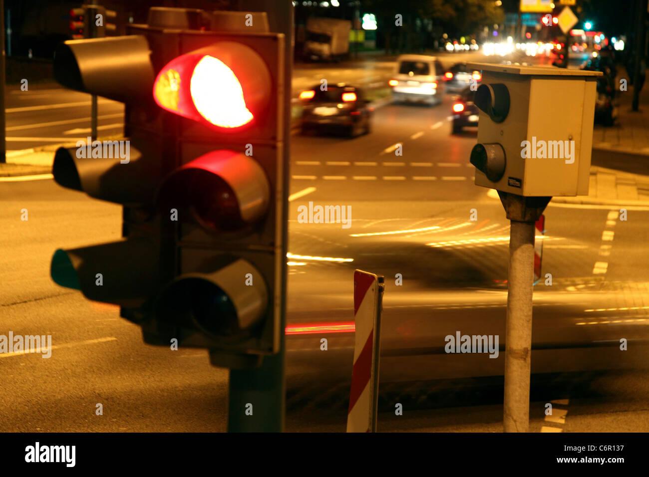 Traffic camera, at a traffic light, inner city street