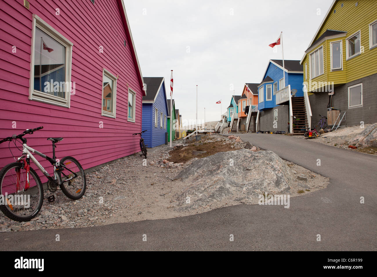 Colorful houses in Ilulissat on the west coast of Greenland - Stock Image