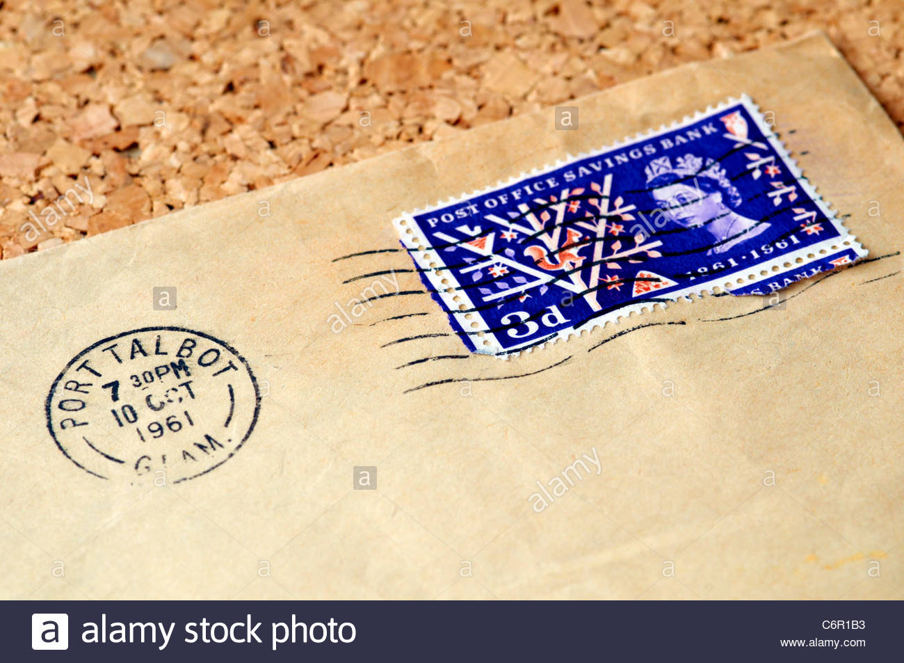 postmark on brown buff envelope with old 3d three pence stamps dated 1961 - Stock Image