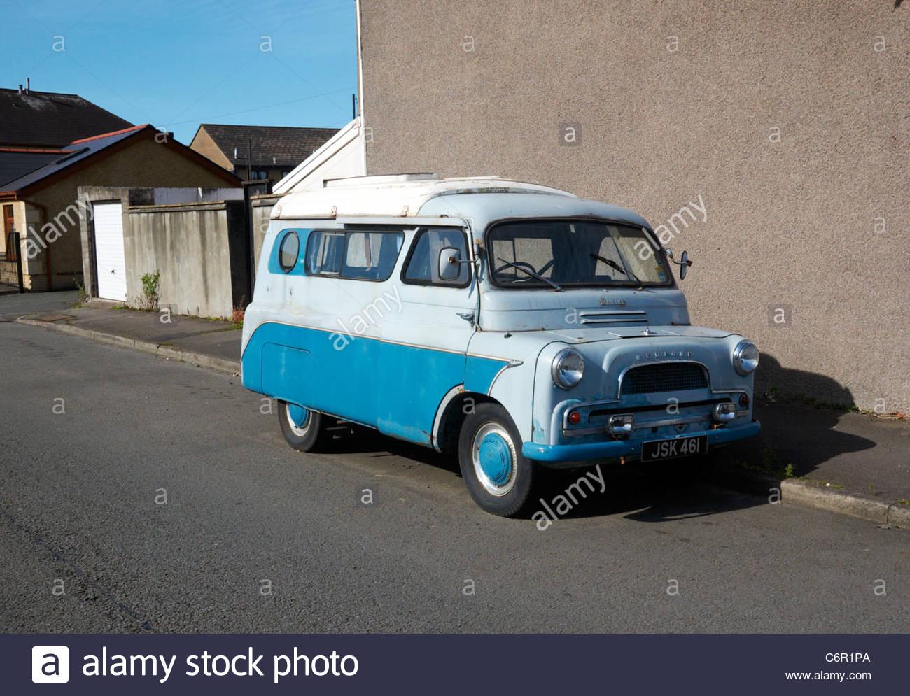 two tone blue mid 1960s bedford ca camper van - Stock Image