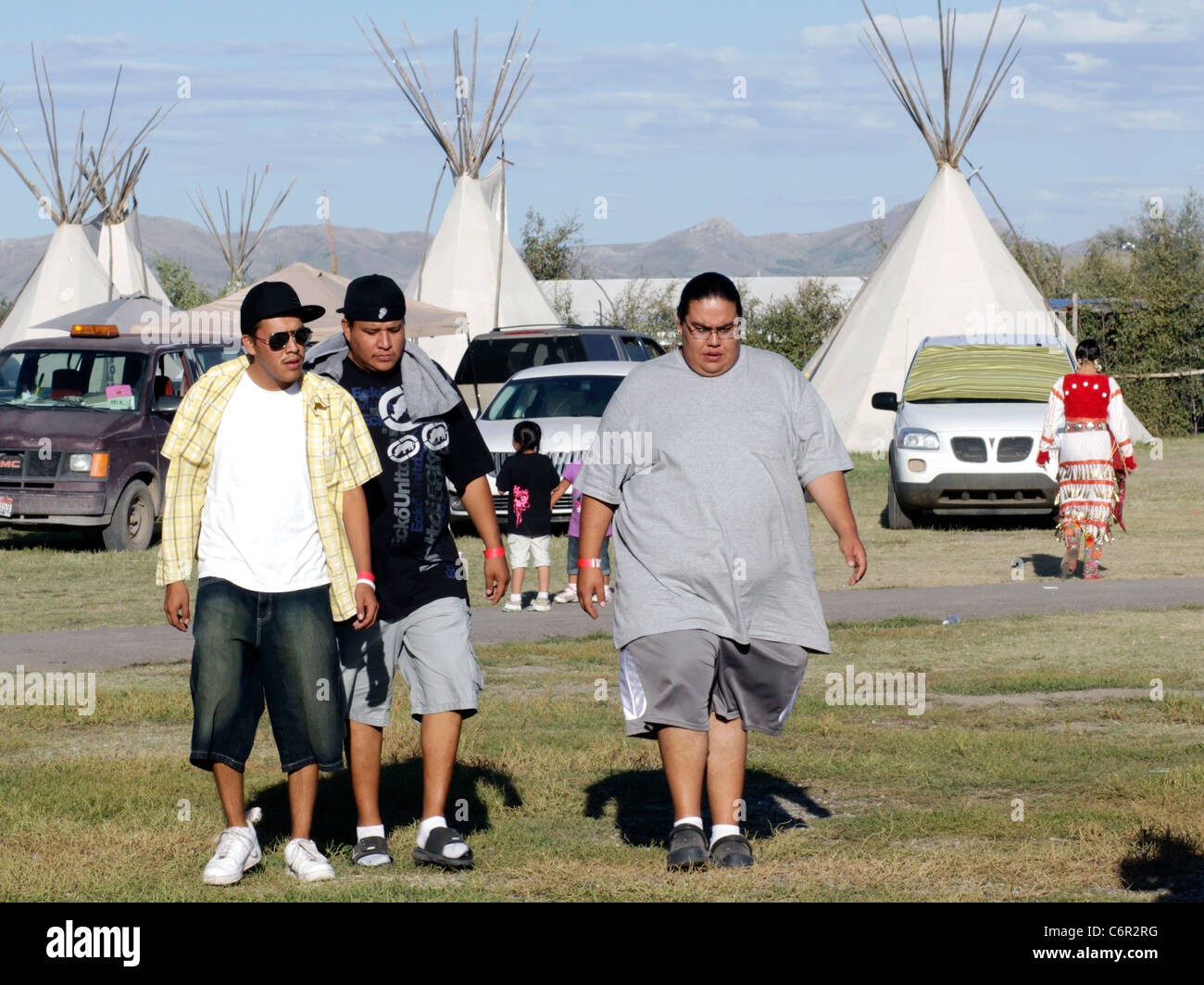Native Americans at the annual Shoshone-Bannock Festival held in Fort Hall, Idaho. - Stock Image