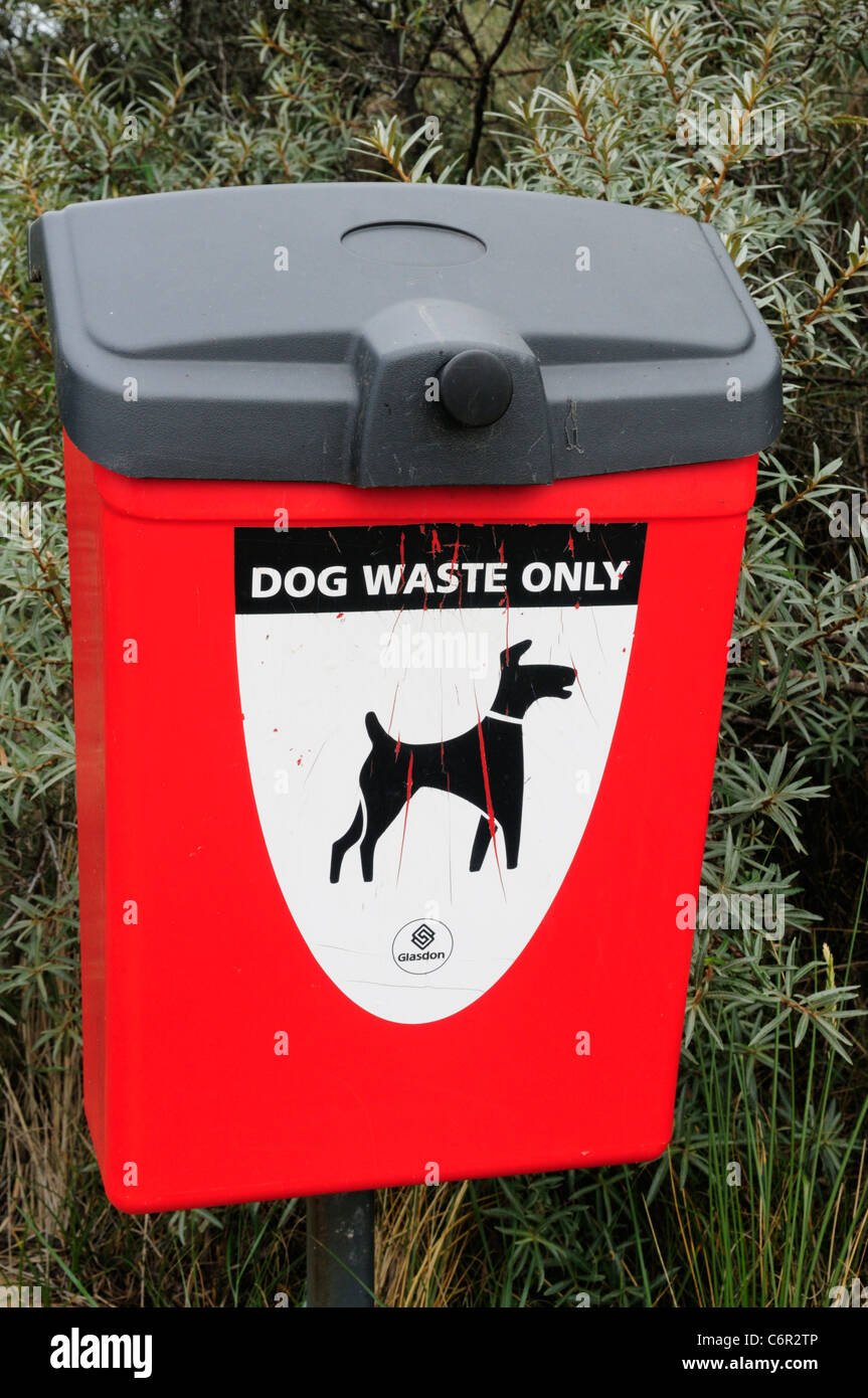 Dog Waste Only Litter Bin, Holme Next The Sea, Norfolk, England, UK - Stock Image