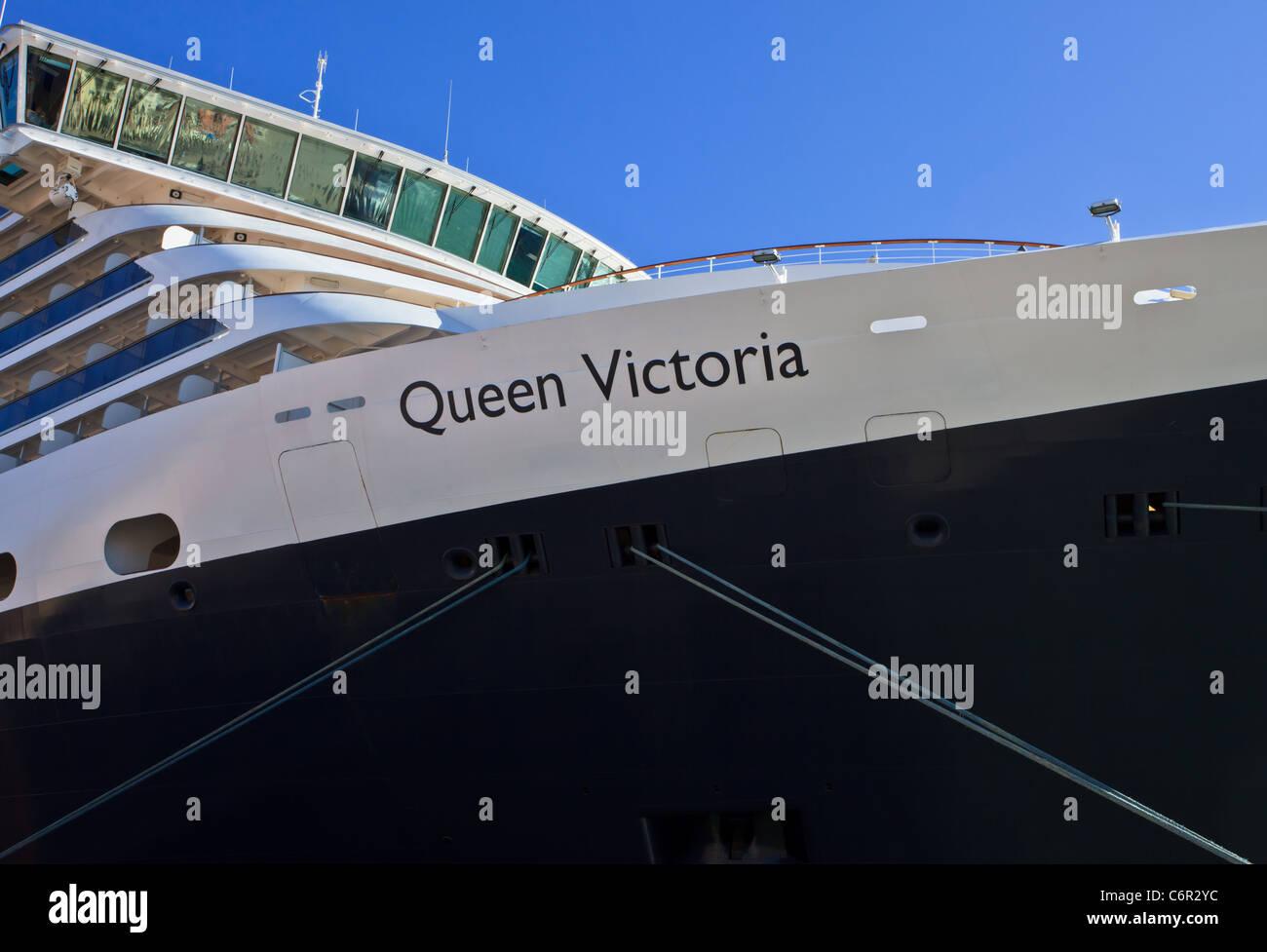 Cruise liner Queen Victoria at Venice harbor, Veneto, Italy - Stock Image