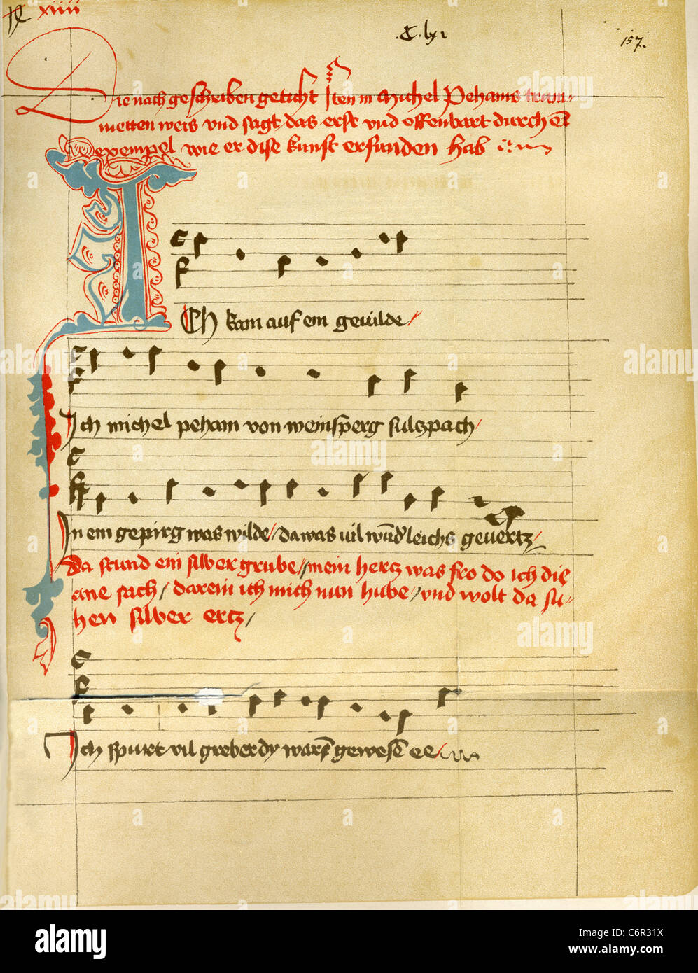 A page from the master songbook of Michael Behaim (also Beheim, Beham, Behn), who was born in c. 1420 in Germany - Stock Image