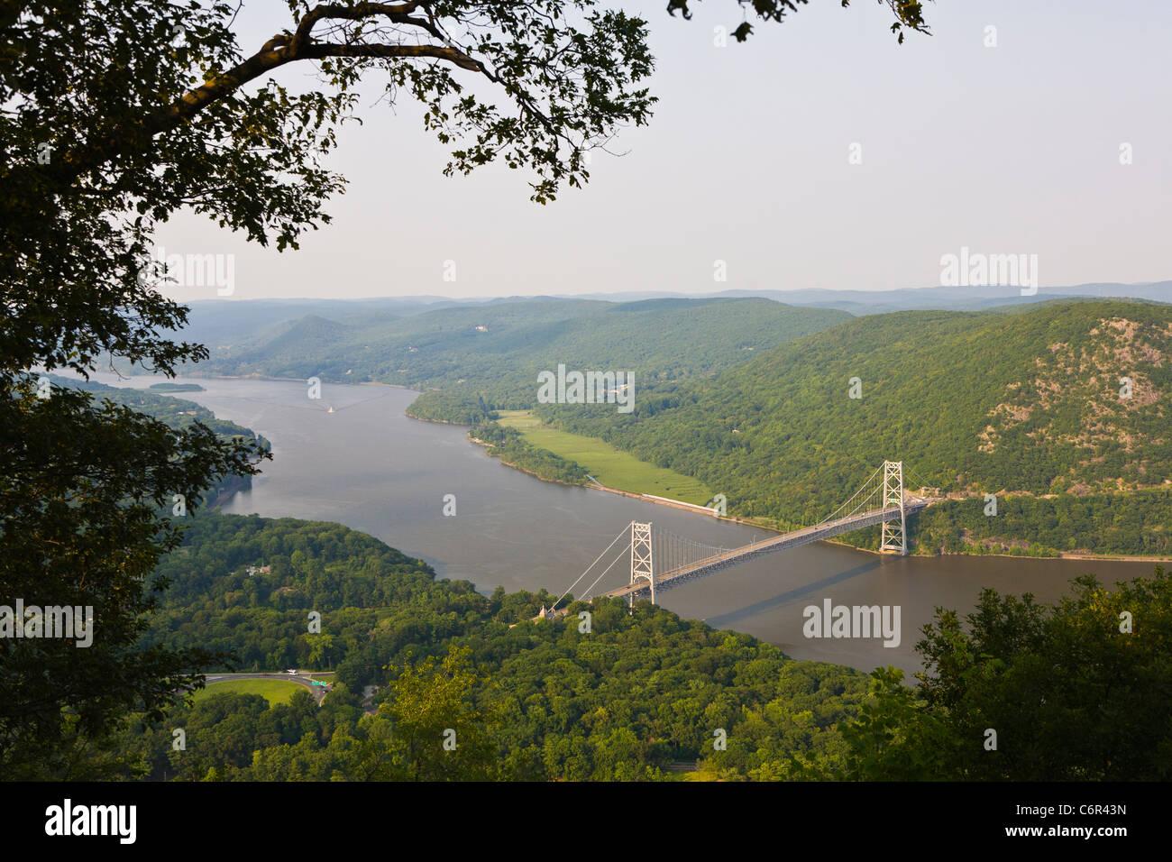 Bear Mountain Suspension Bridge across the Hudson River in New York State - Stock Image