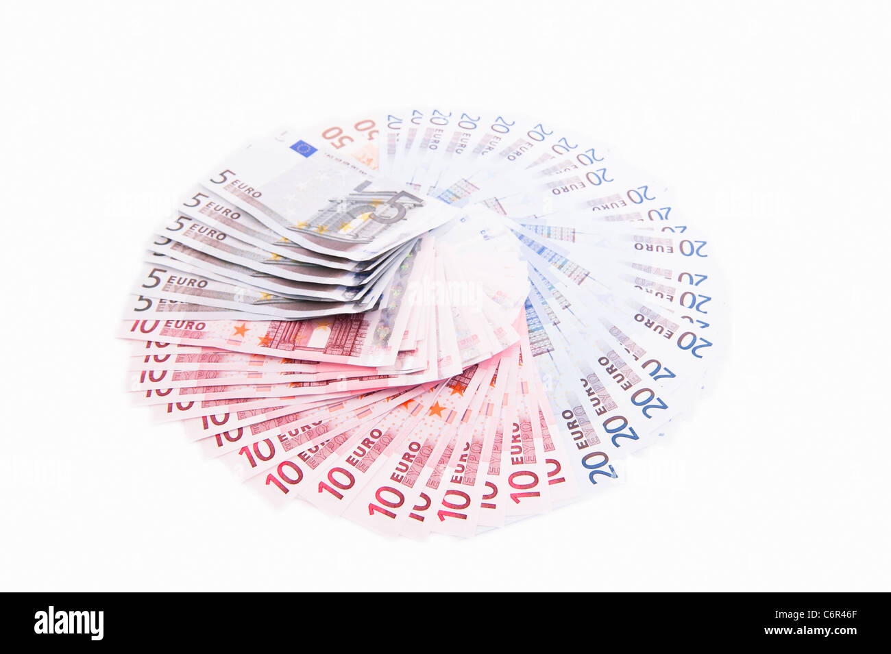 A selection of Euros on a white background - Stock Image