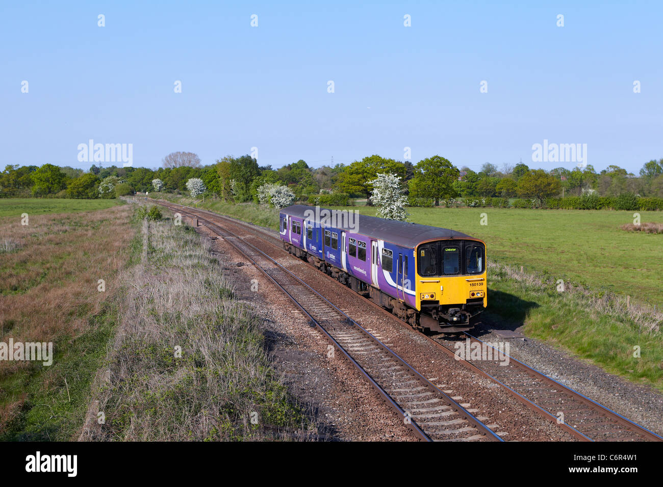 150139 forms a Manchester Piccadilly - Chester Northern Rail service seen heading through Mobberley (Cheshire) on - Stock Image
