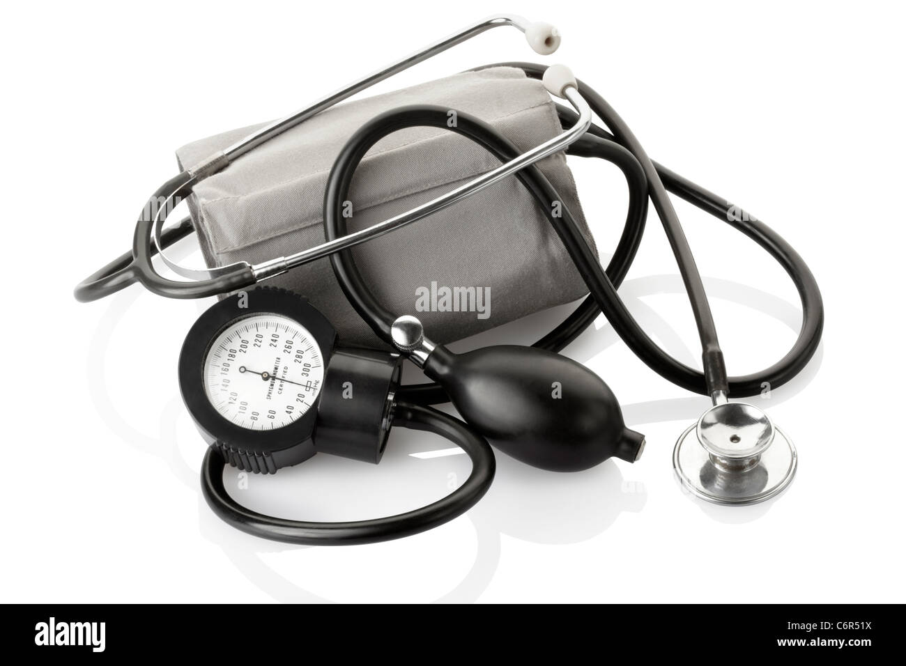 Sphygmomanometer and stethoscope, blood pressure control - Stock Image
