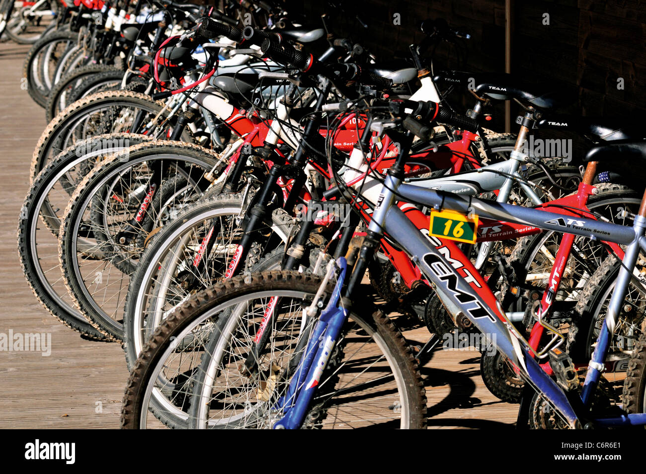 Portugal, Alentejo: Bikes for rent at the Eco and Camping Resort Zmar in Odemira - Stock Image