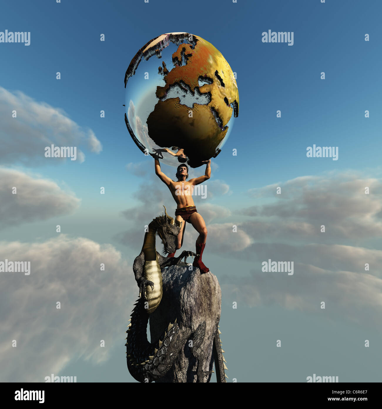 Atlas holds the Earth. The dragon represents the unrest in this part of the world. - Stock Image
