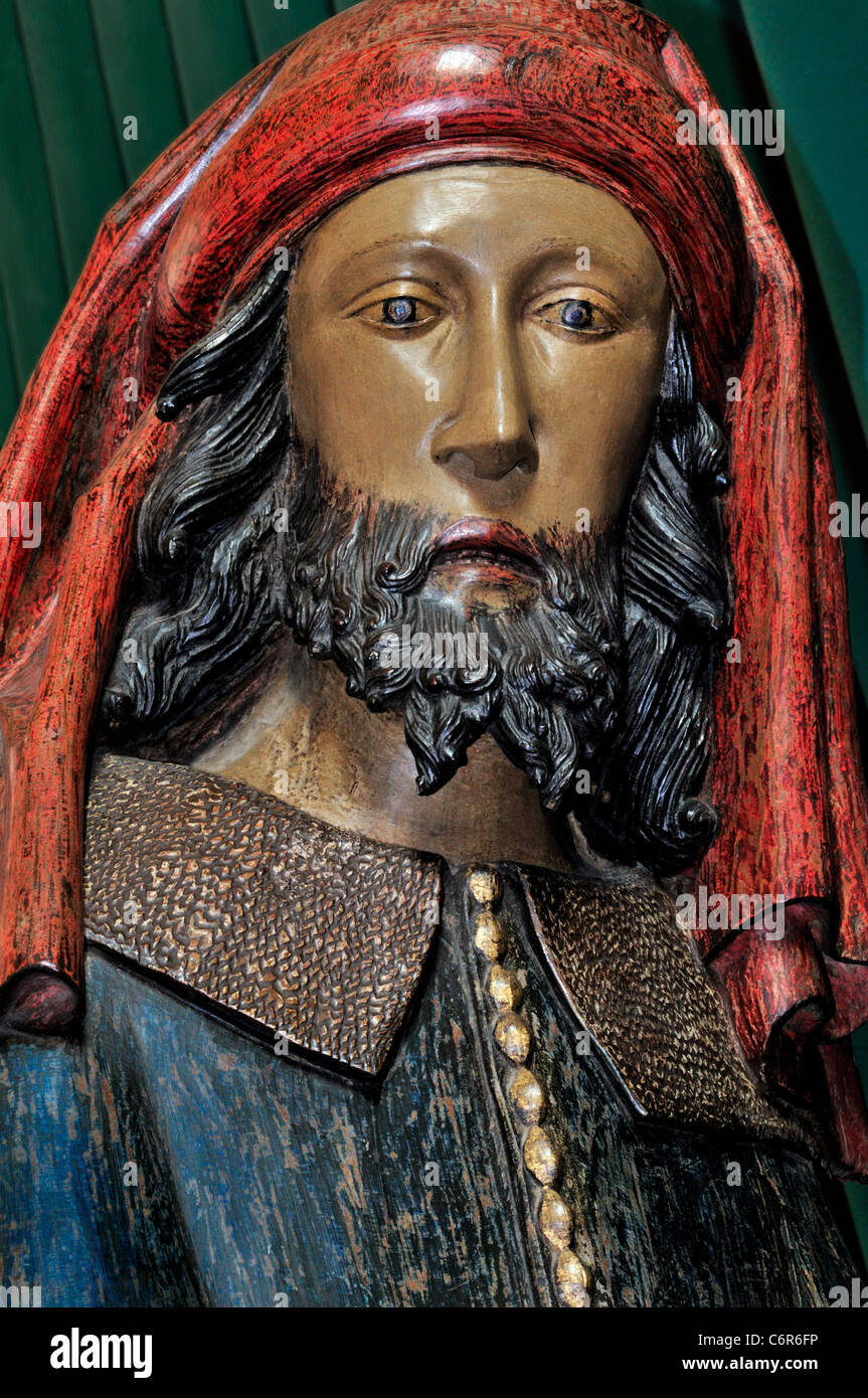 France, Moissac: Detail of Nicodemus as part of a medieval Entombment of Christ in the Abbey church Saint Pierre - Stock Image
