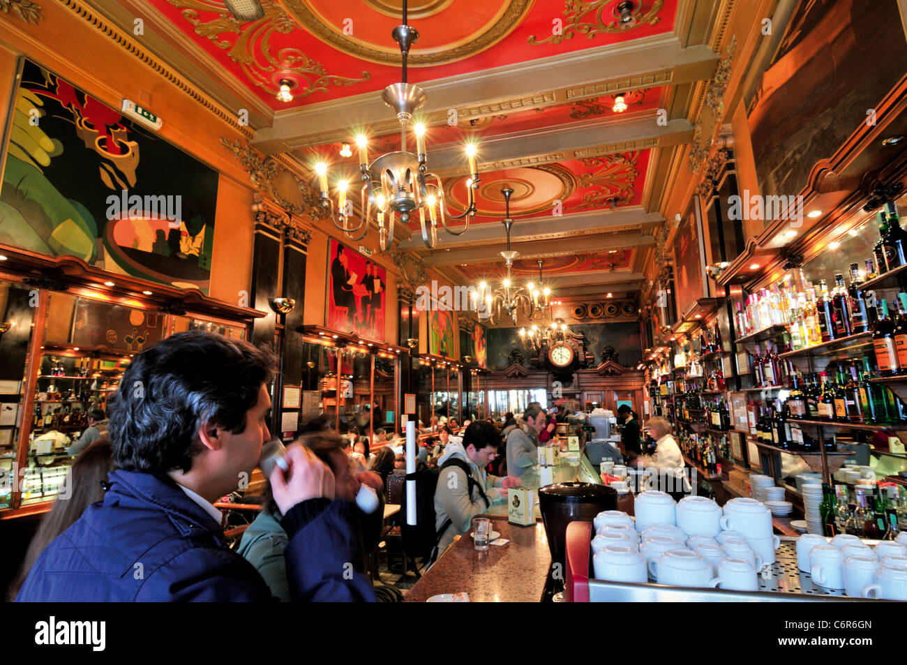 Portugal, Lisbon: Inside View of the coffeehouse A Brasileira - Stock Image