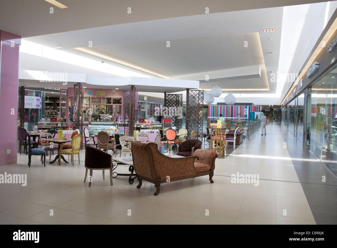 Furniture display in an upmarket shopping mall in Morningside, Sandton - Stock Image