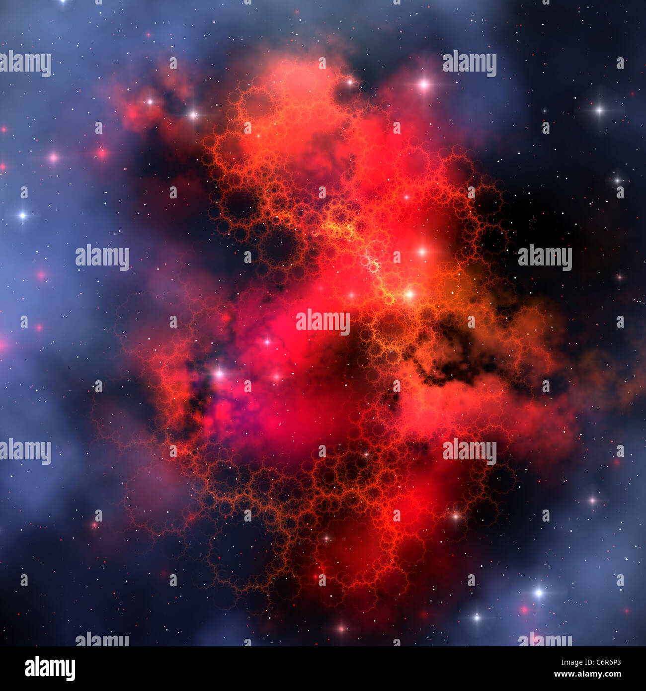A nebula out in space emits a red signature in all its intertwining filaments. - Stock Image