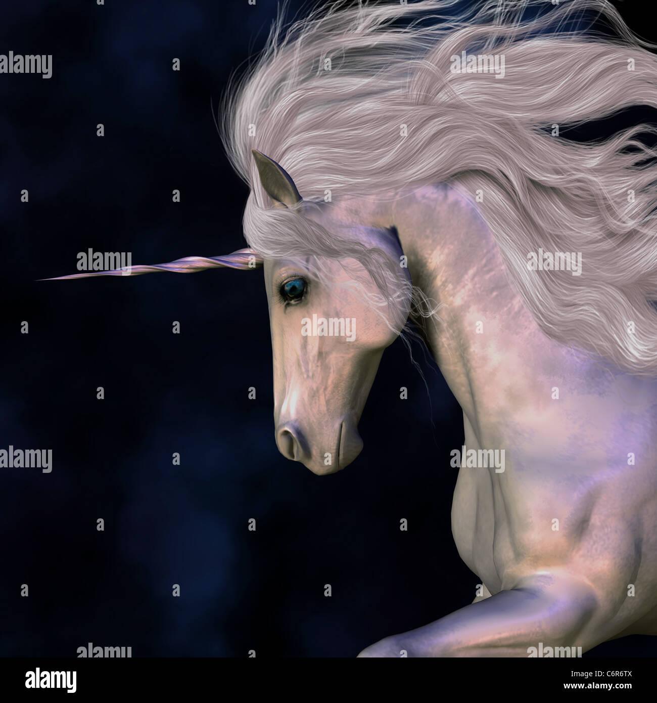 A white buck unicorn's horn has a beautiful pink glow. - Stock Image