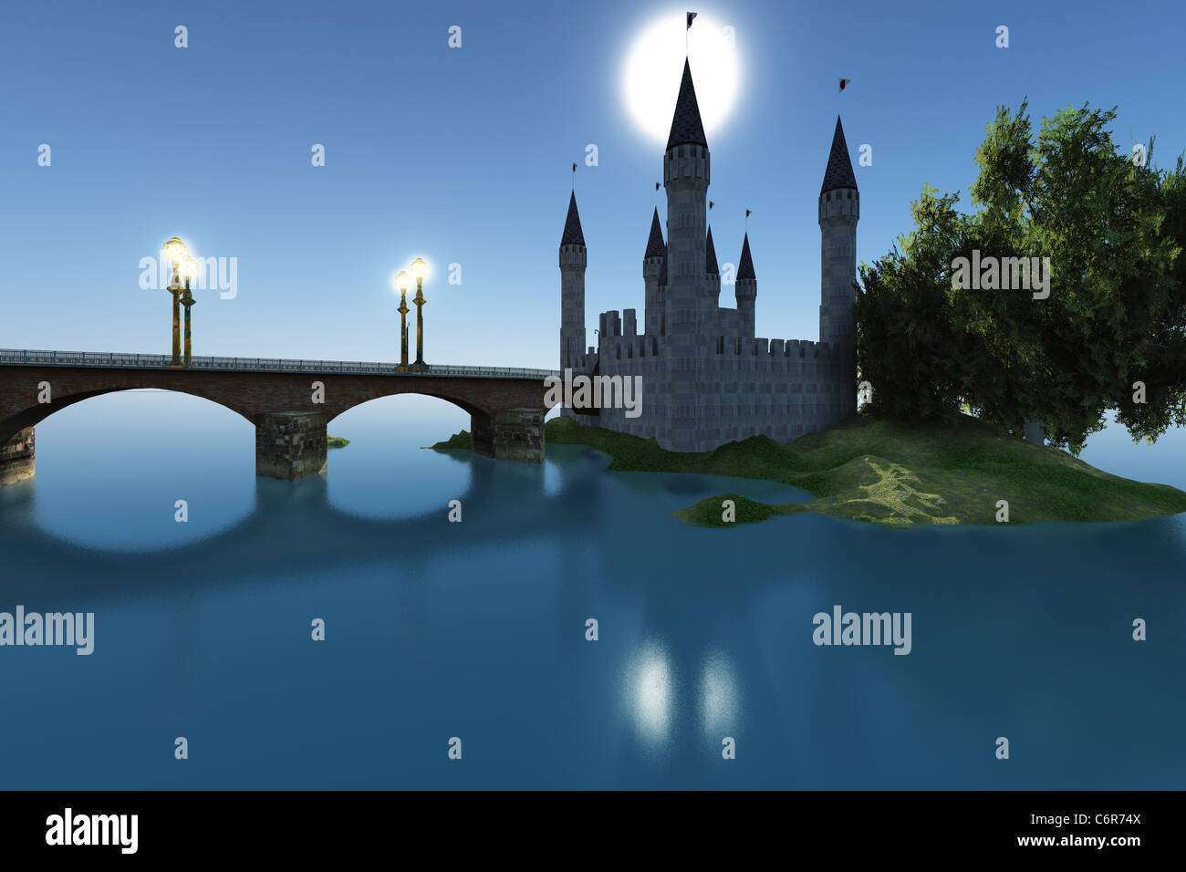 A castle gleams in the moonlight in the still waters of the sea. - Stock Image