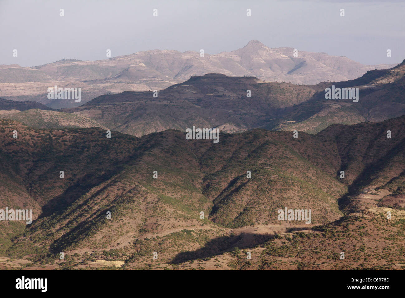 Lalibela landscape with a view over mountain ranges - Stock Image