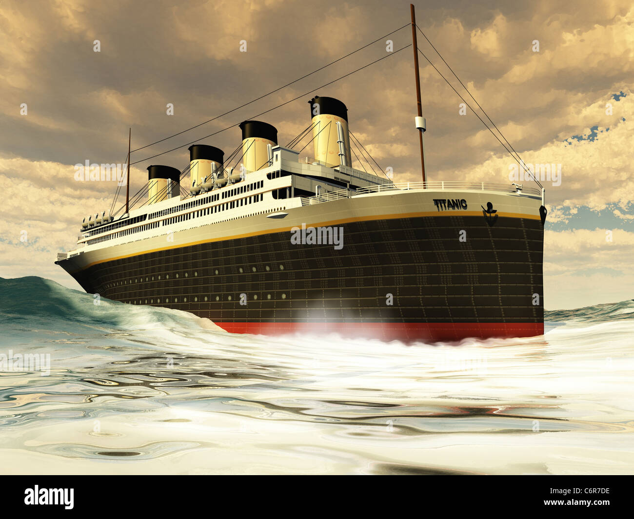 The grand and elegant Titanic glides through the ocean with ease. - Stock Image