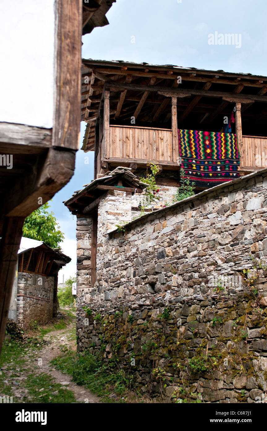 Traditional Bulgarian house and handmade rug in  village of Dolen - an architectural reserve - Stock Image