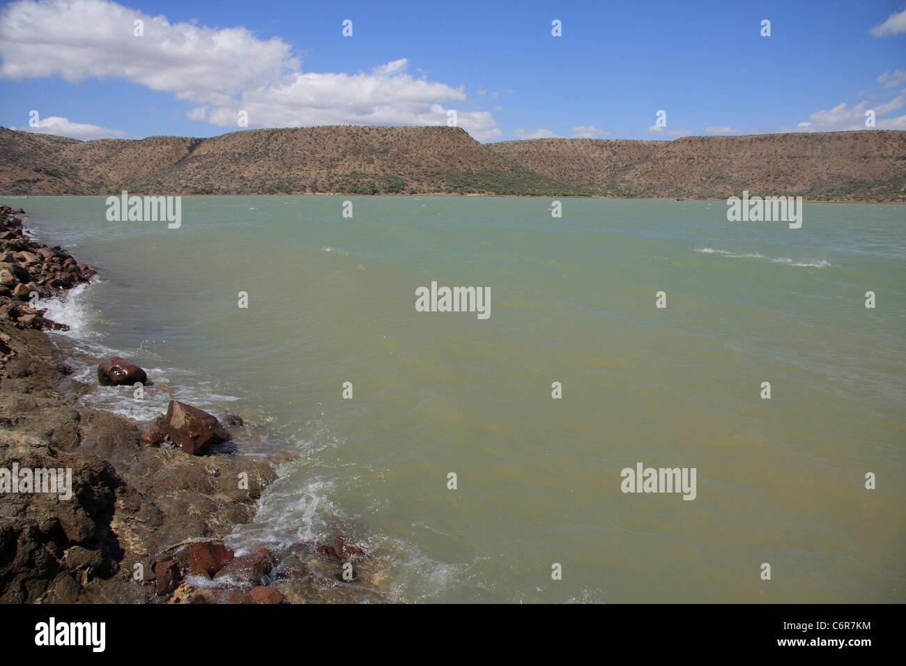 View over Van Der Kloof Dam in rough conditions - Stock Image