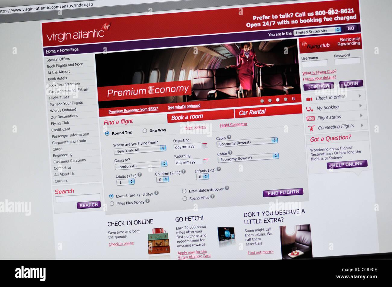 Virgin Atlantic airlines website Stock Photo: 38620974 - Alamy