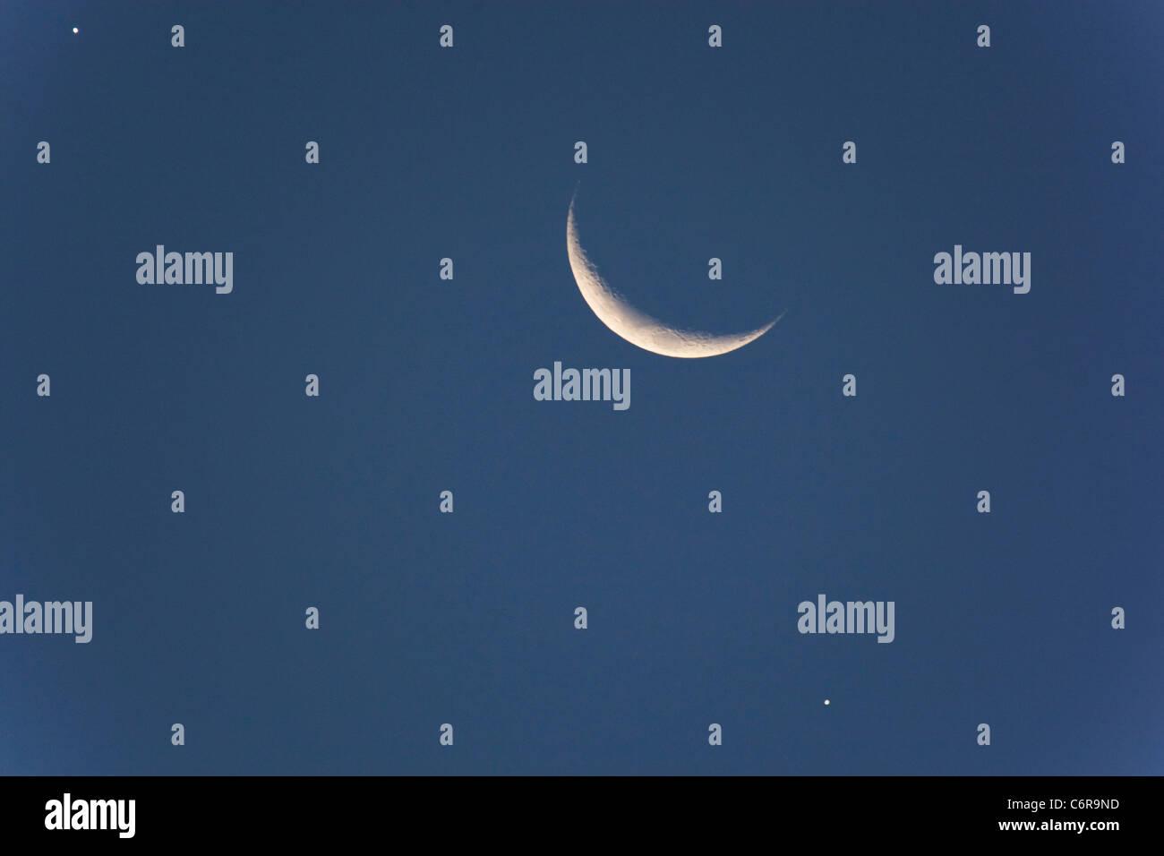 Moon Venus Jupiter - Stock Image