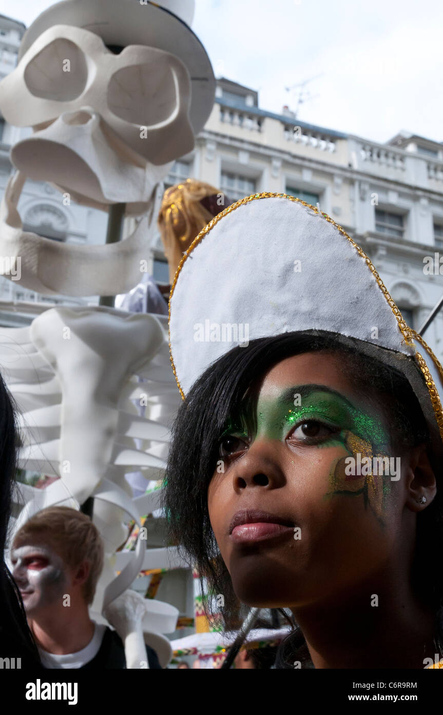portrait of a young female dancer at Notting Hill carnival 2011. London. England - Stock Image