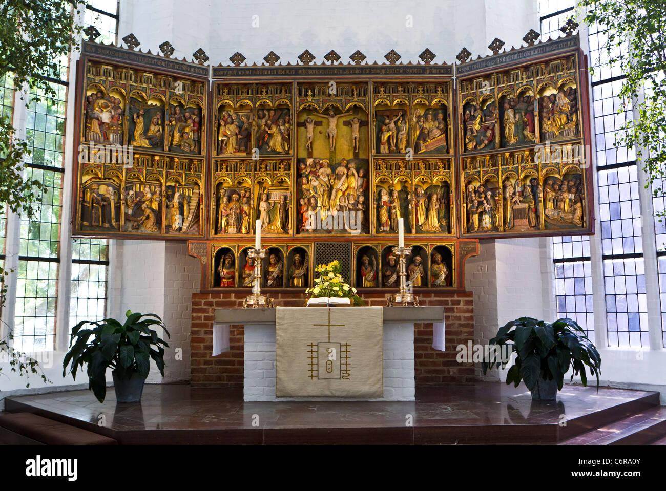 15th-century winged altar-piece at the Nikolaikirche (St. Nicholas' Church) in Kiel, Germany, Lubeck Luneberg - Stock Image