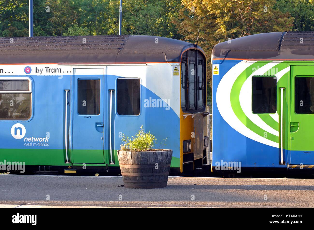 Network West Midlands trains at Leamington Spa railway station, Warwickshire, England, UK - Stock Image