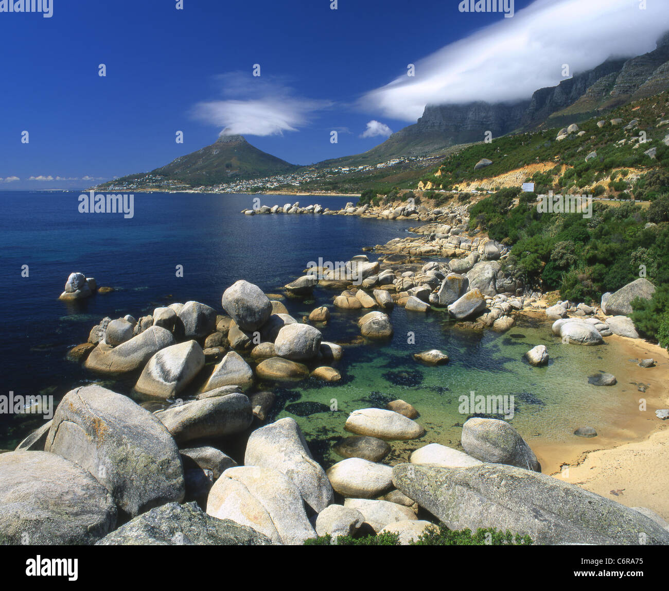 Rocky coastline at Oude Kraal beach - Stock Image