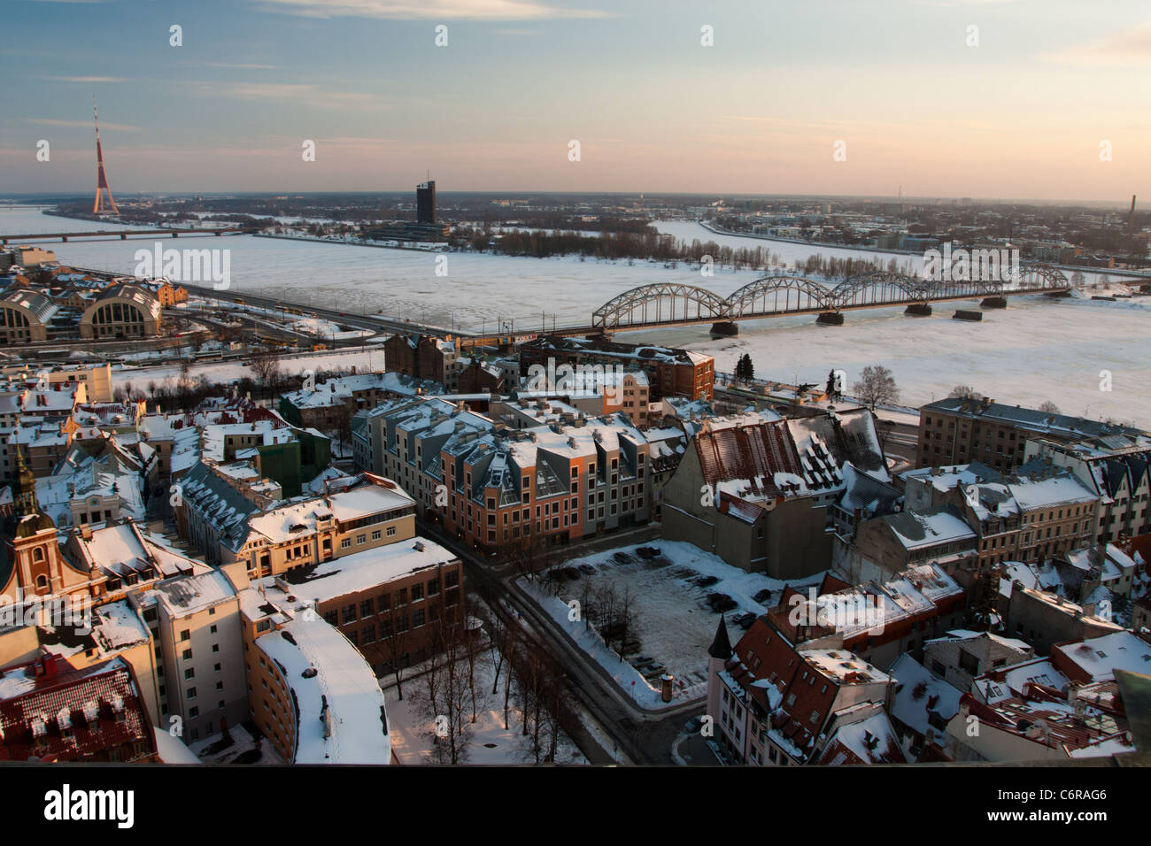 View on Riga town the capital of Latvia - Stock Image