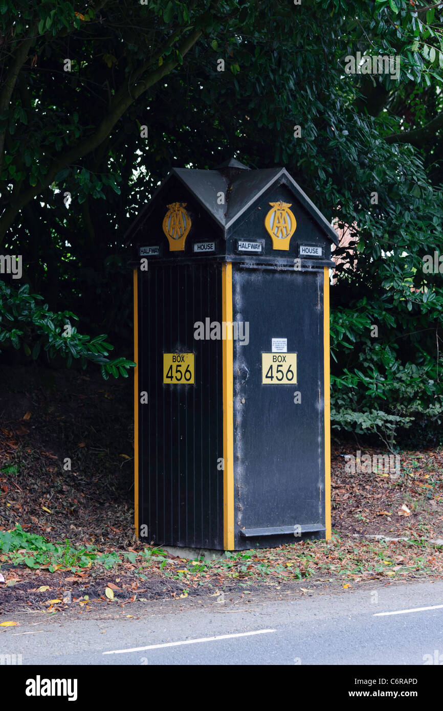 AA Telephone Box 456 Box at Junction of A3080 Honiton - Exmouth & A3052 Exeter - Sidmouth Devon UK - Stock Image