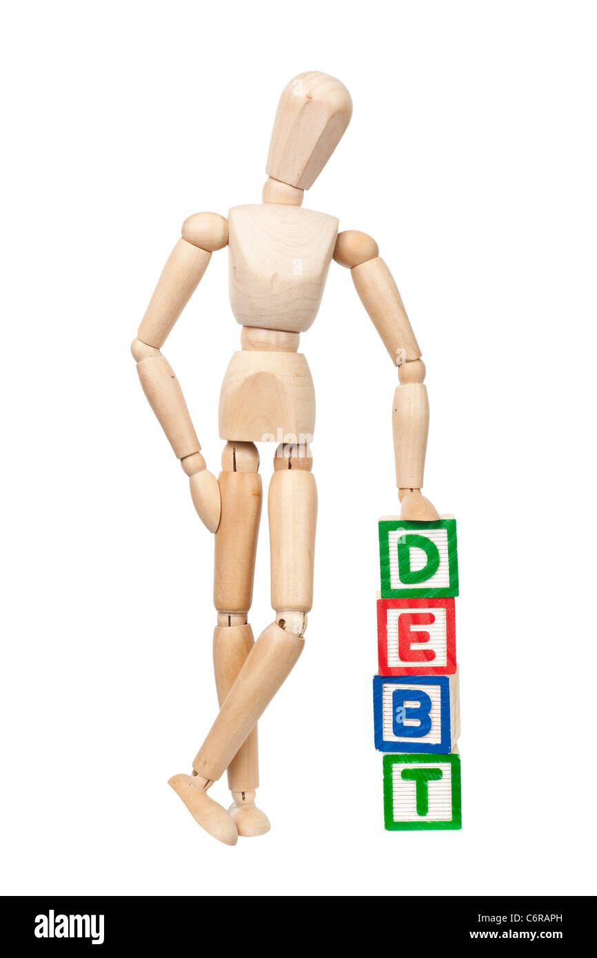 Wooden figurine with the word DEBT isolated on white background - Stock Image
