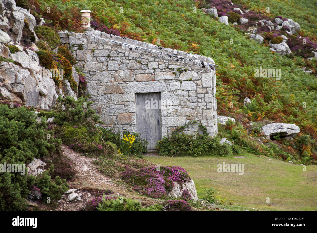 The granite quarries cottage on Lundy Island, Devon, England UK in August - Stock Image