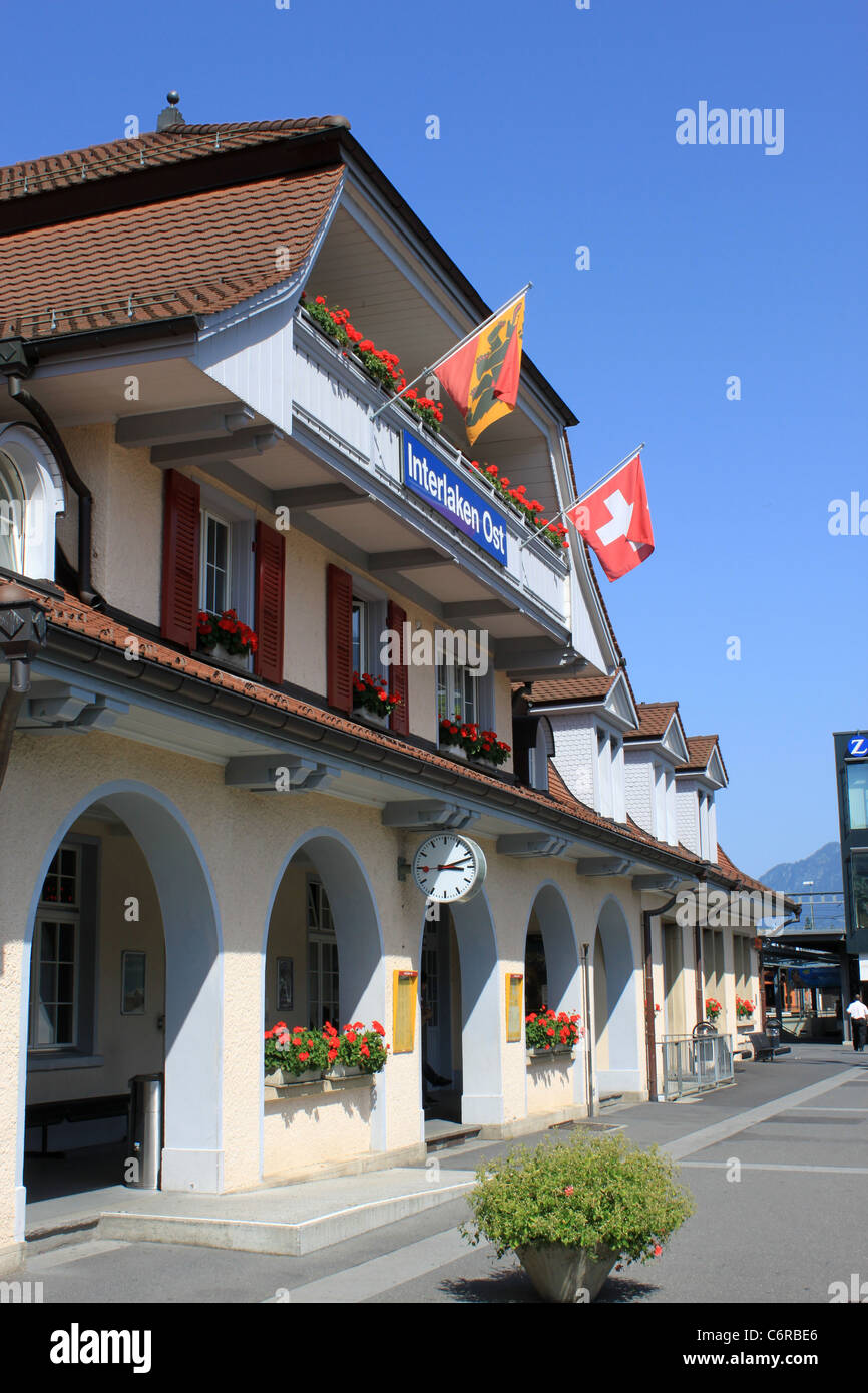 Outside of Interlaken Ost (East) railway station, Switzerland. - Stock Image