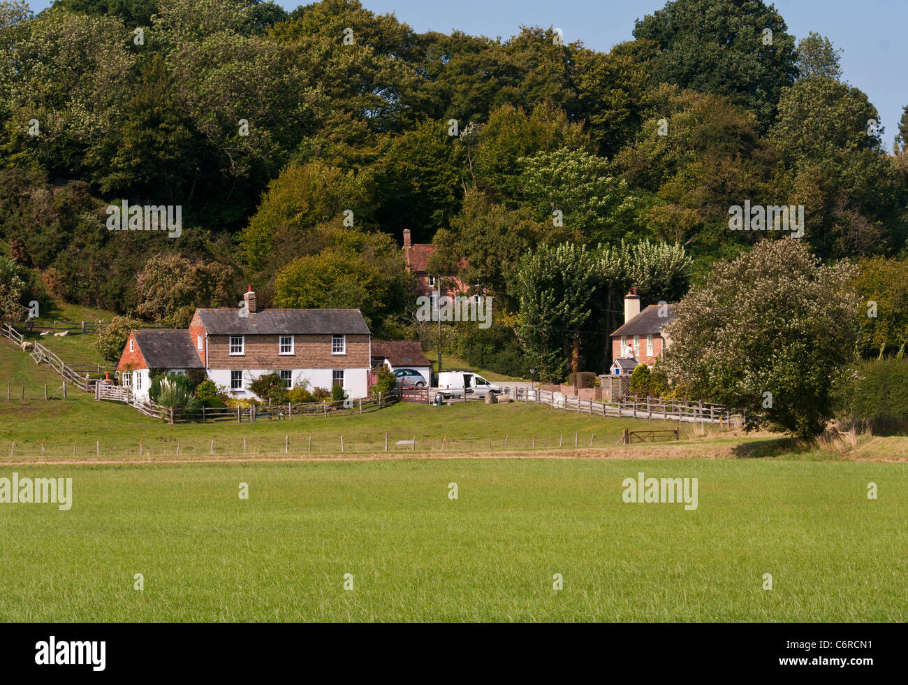 Large Houses In The East Sussex Countryside Near Playden UK - Stock Image