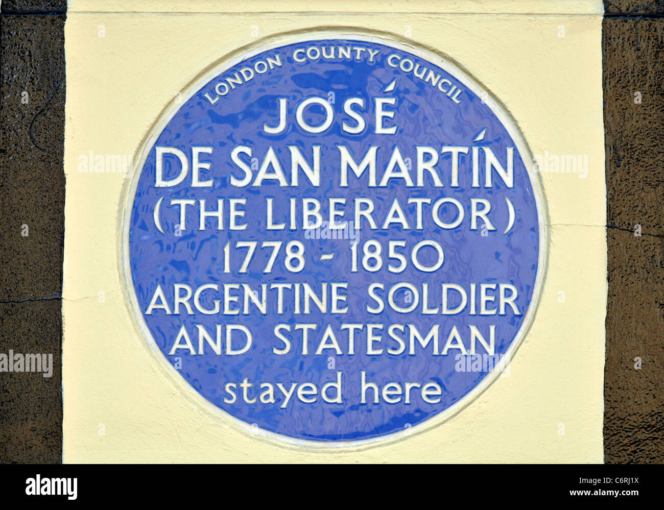 Jose De San Martin Blue Plaque, Park Road, London, Britain, UK - Stock Image