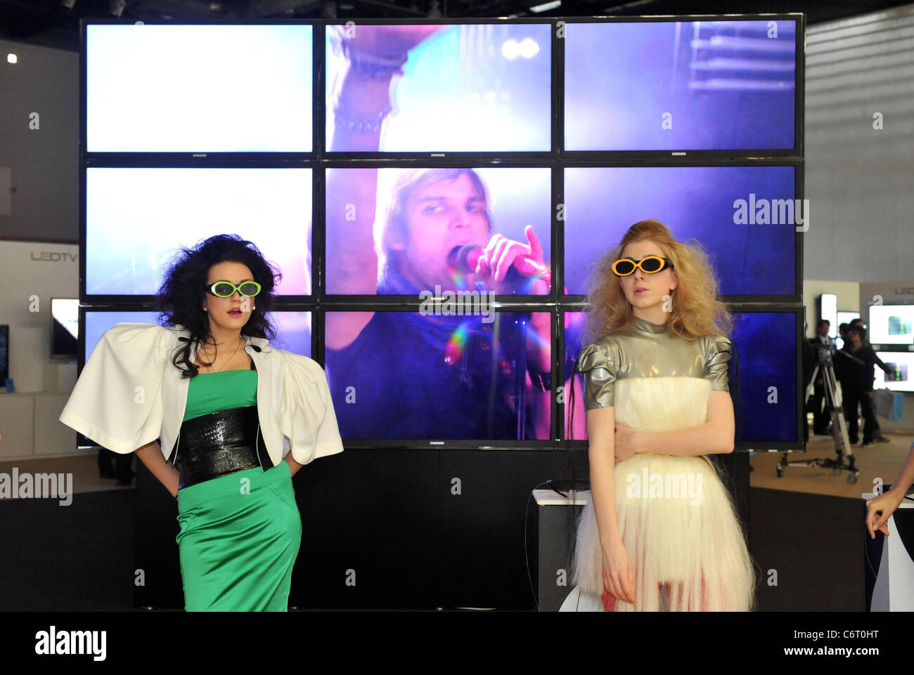 Visitors watch the Samsung Electronics 3D LED TV Wall displayed in