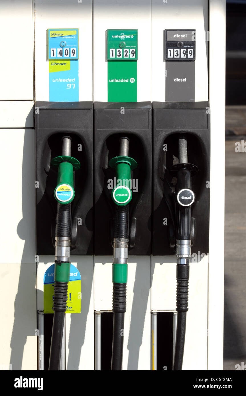 Petrol pumps, UK - Stock Image