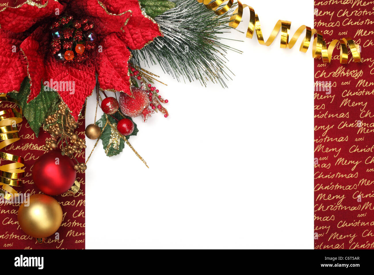 Christmas decoration with blank card. - Stock Image