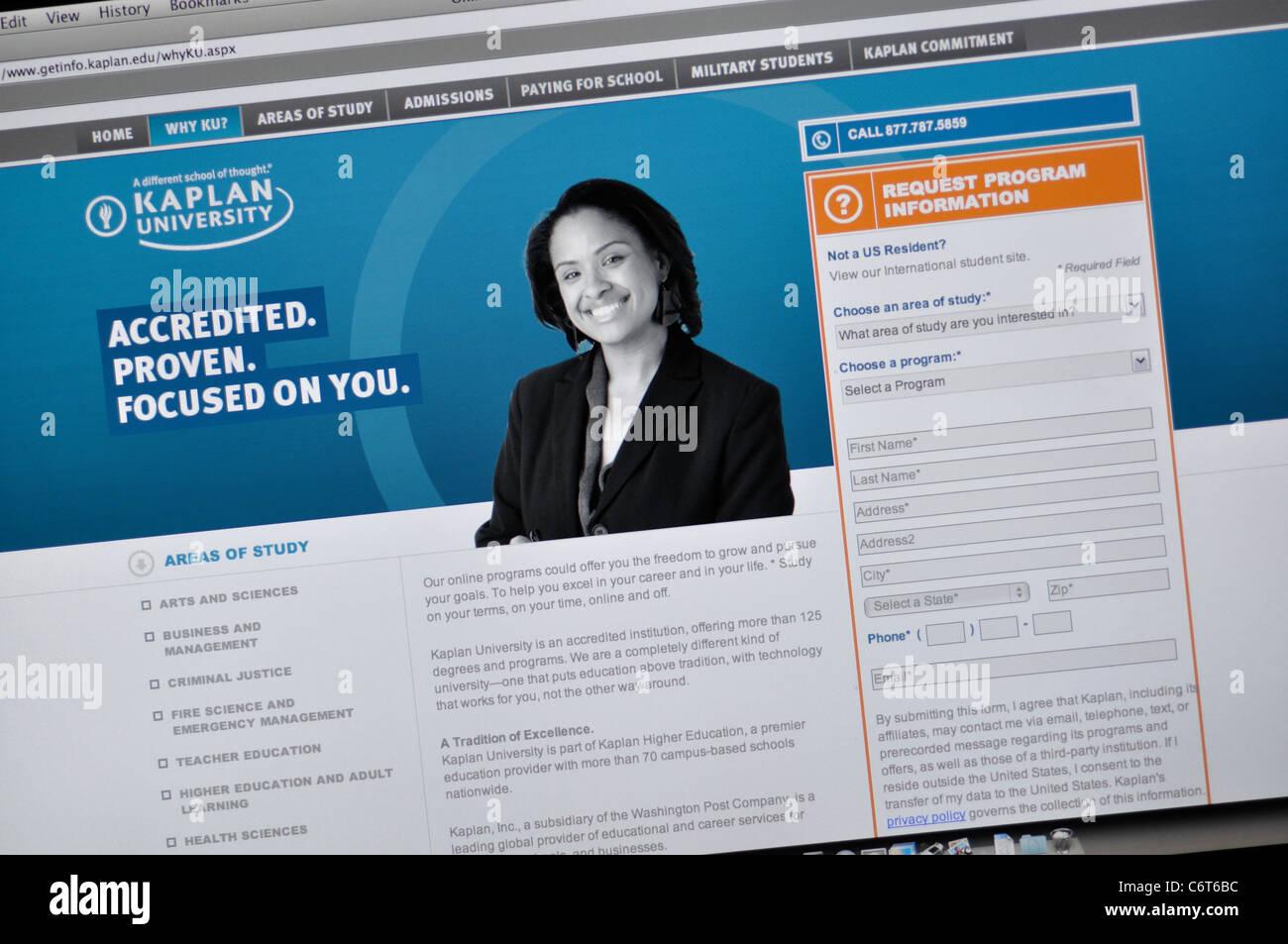 Kaplan University website - Stock Image