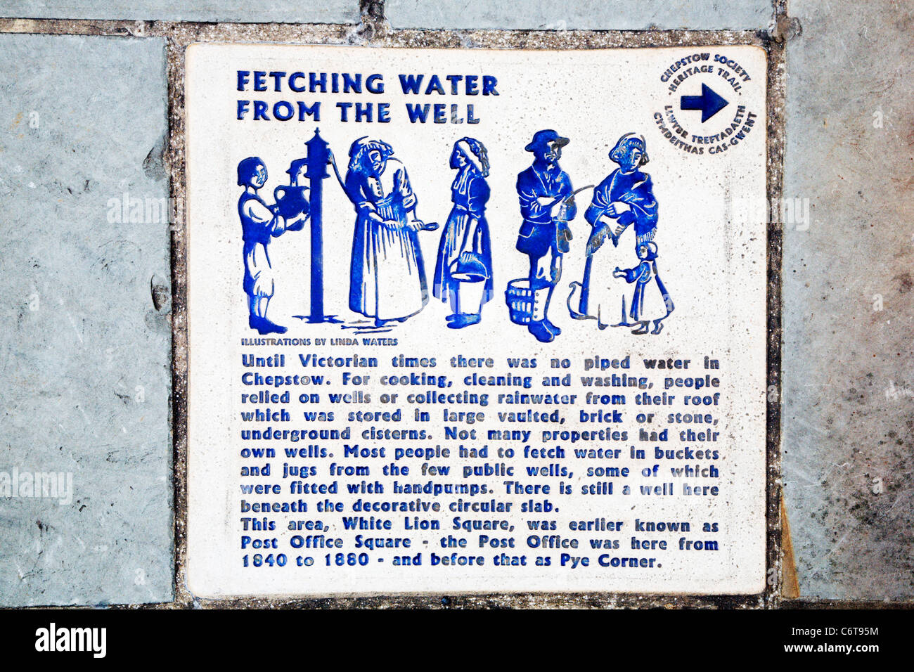 Fetching Water from the Well Chepstow Monmouthshire Wales - Stock Image